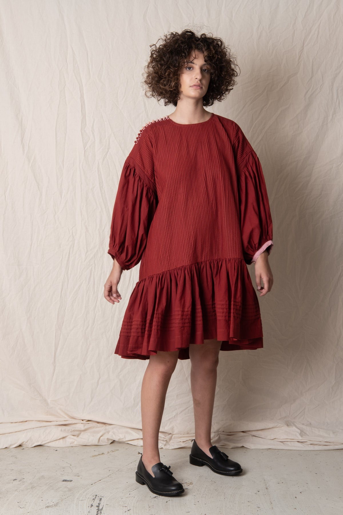 VERITY DRESS IN ROSE MADDER
