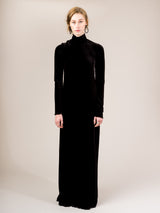 T NECK GOWN IN BLACK SILK VELVET