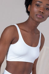 SWIM SPORTS BRA IN WHITE