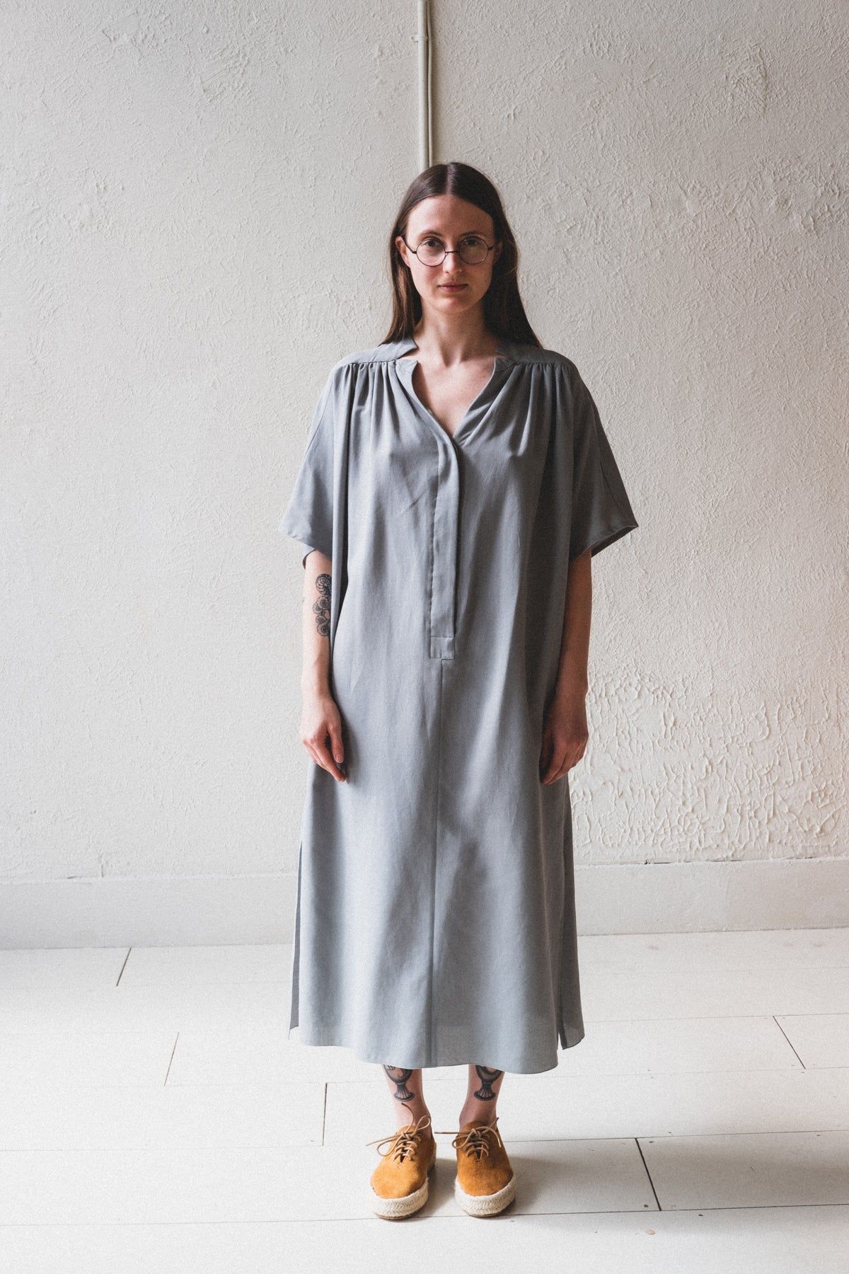 SEYA DRESS IN GREEN GRAY LIGHT COTTON TWILL