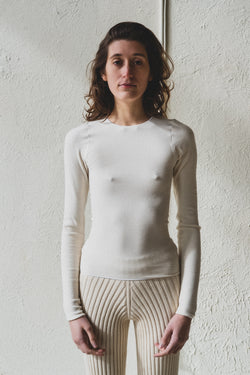 AID LONG SLEEVE IN OFF-WHITE BUCKLE KNIT COTTON