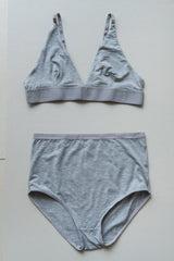 HIGH WAIST BELL UNDERWEAR IN GREY MELANGE
