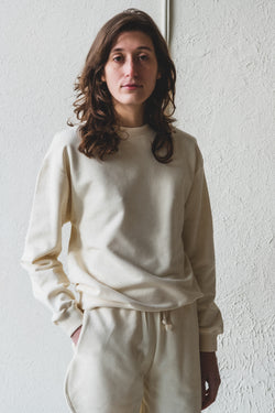 LOOSE SWEATSHIRT IN OFF-WHITE ITALIAN FLEECE