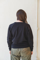 BASIC SWEATSHIRT IN BLACK ITALIAN FLEECE
