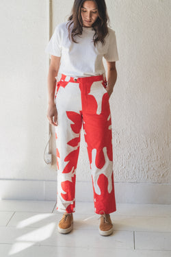 CUT-OUT APPLIQUE SIDE TIE TROUSER TROUSER