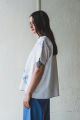 MOUNTAIN TABLEAU BLUE EMBROIDERY SHIRT