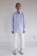BASIC SHIRT IN BLUE AND WHITE CHECK COTTON