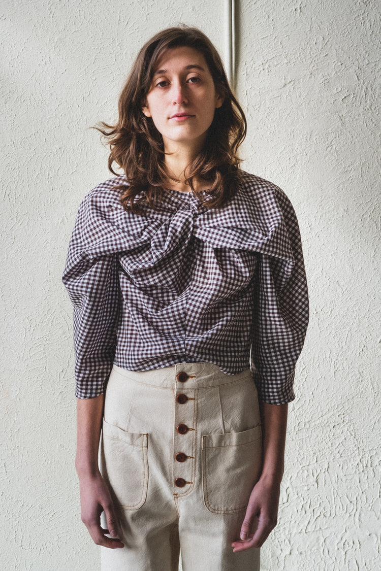 ALEXIS TOP IN BROWN GINGHAM