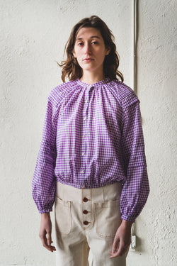 LEO TOP IN VIOLET GINGHAM