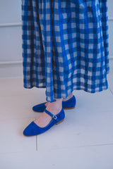MYRTLE DRESS IN ROYAL GAUZE PLAID