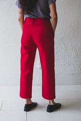 TIMOTHY PANT IN CRIMSON DOUBLE FACE COTTON