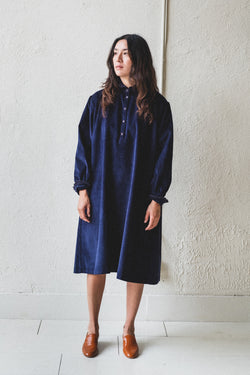 ANTHEA DRESS IN NAVY CORDUROY
