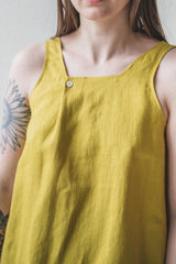 EDITH TOP IN CHARTREUSE LINEN