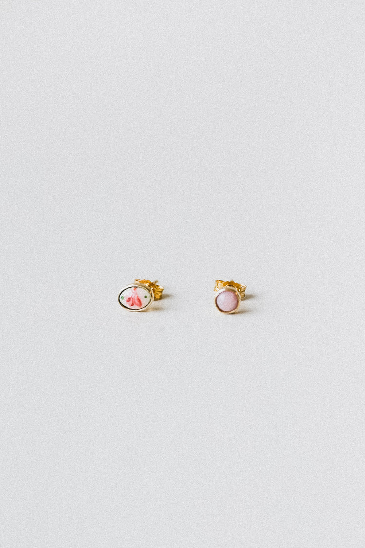 ENAMEL ROSE AND PINK OPAL MISMATCHED STUD EARRINGS