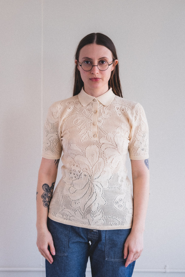 LACE POLO IN STRING