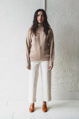 RIBBED TURTLENECK SWEATER IN UNDYED WHITE CAMEL WOOL