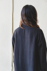 STAND COLLAR BLOUSE IN BLACK SILK