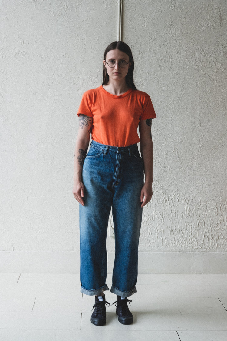 HIGH WAIST DENIM PANTS IN TWO YEAR WASH