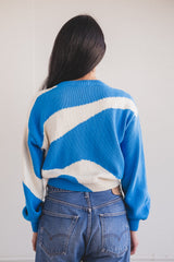 PIN SWEATER IN BLUE COTTON