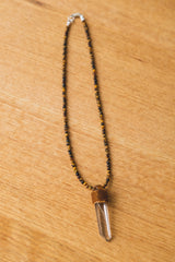 PENDULUM NECKLACE IN TIGER EYE/LITHIUM QUARTZ