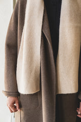 DOUBLE KNIT SCARF IN UNDYED CASHMERE