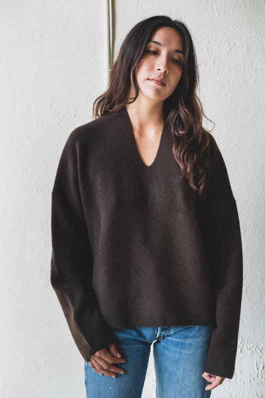 RIBBED V NECK SWEATER IN YAK WOOL