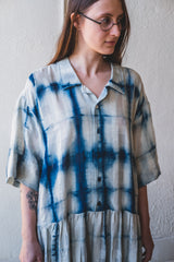 EDEN SHIRT DRESS IN SHEER INDIGO MOON CLAMP