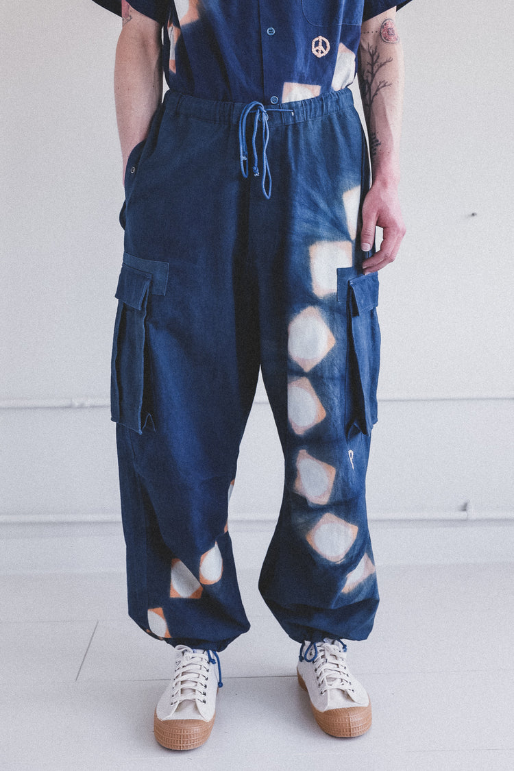 PEACE PANTS IN INDIGO PINK LUNAR CLAMP DYE