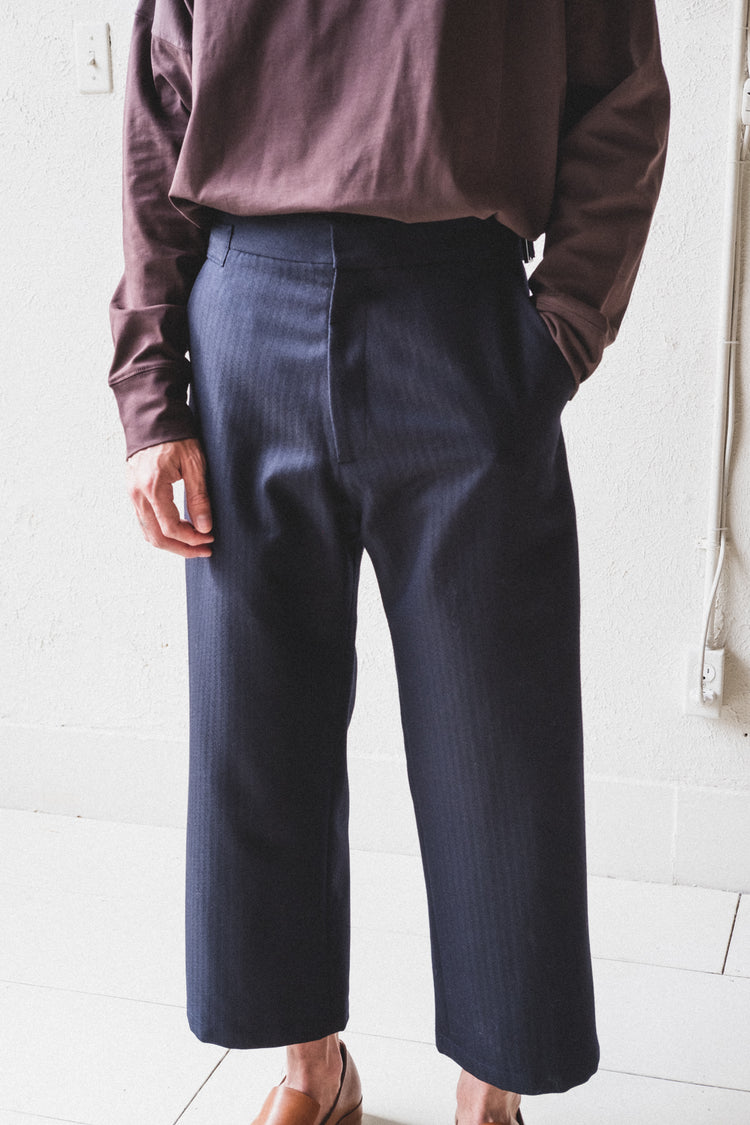 BOSS TROUSERS IN HERRINGBONE WOOL