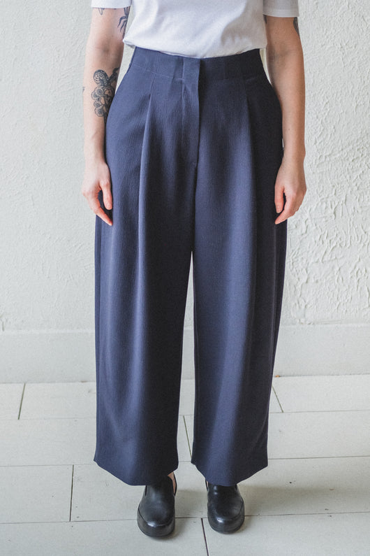 DORDONI PANT IN NAVY VISCOSE/WOOL