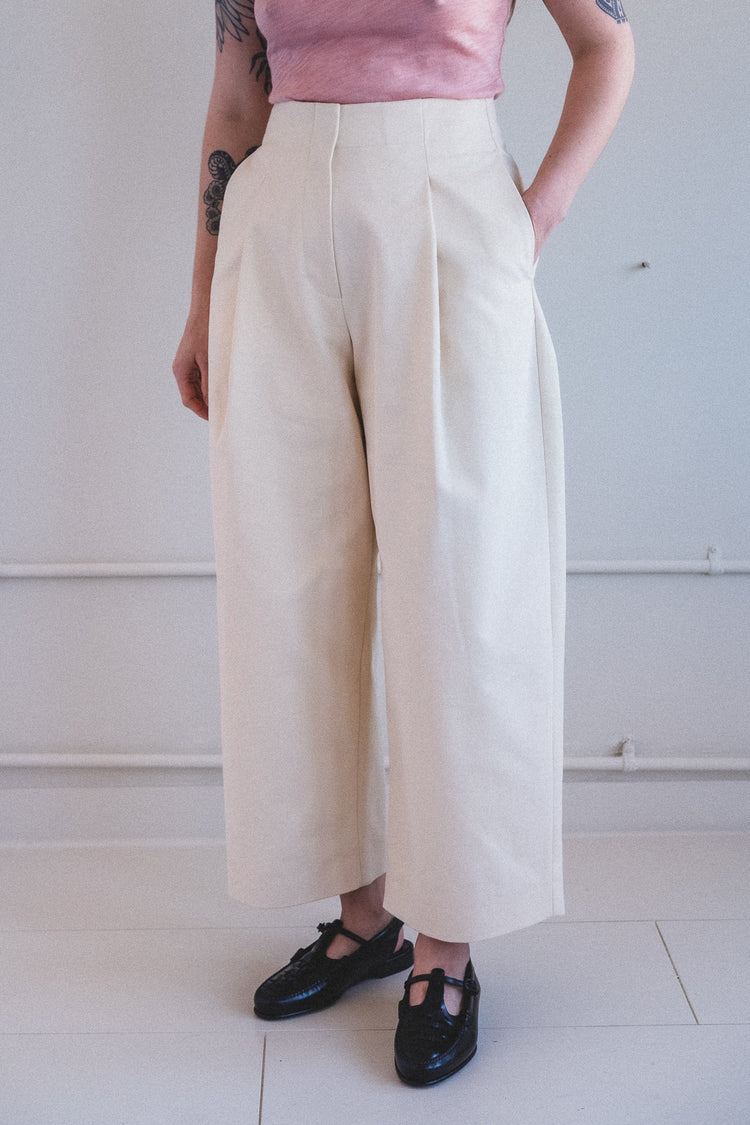 DORDONI PANT IN CREAM COTTON TWILL