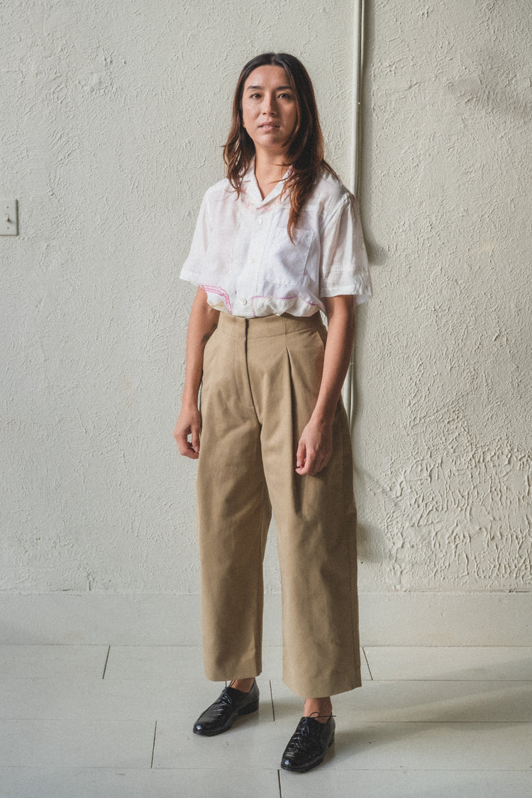 DORDONI PANTS IN TAN COTTON TWILL