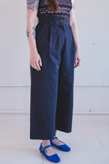 GRETA PANT IN DARK NAVY COTTON