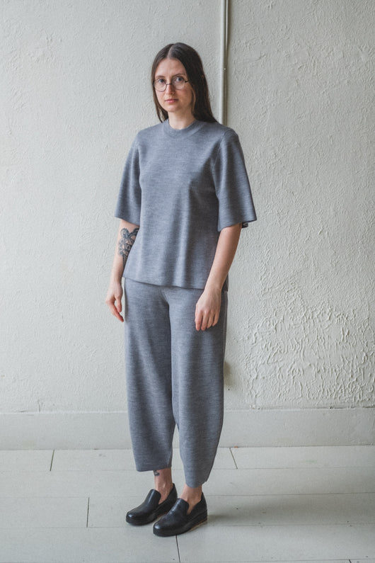 MOURA GREY MERINO/CASHMERE KNIT PANTS
