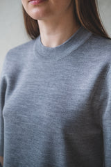 UMBERTO GREY MERINO/CASHMERE KNIT TOP