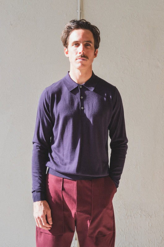 PILOTE LONG SLEEVE POLO IN NAVY