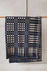 ANTIQUE CLASSIC BLUE HANDWOVEN AMERICAN COVERLET