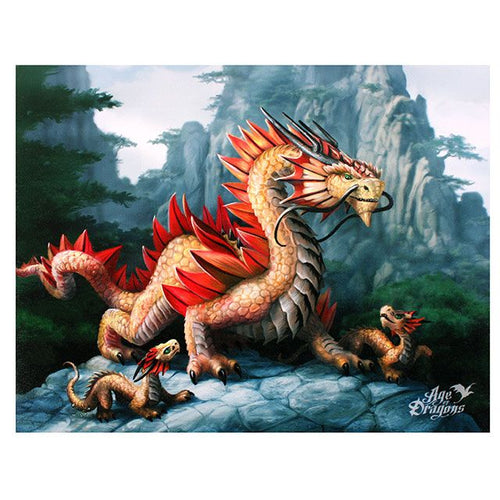 Anne Stokes Age of Dragons Golden Mountain Dragon Canvas Small