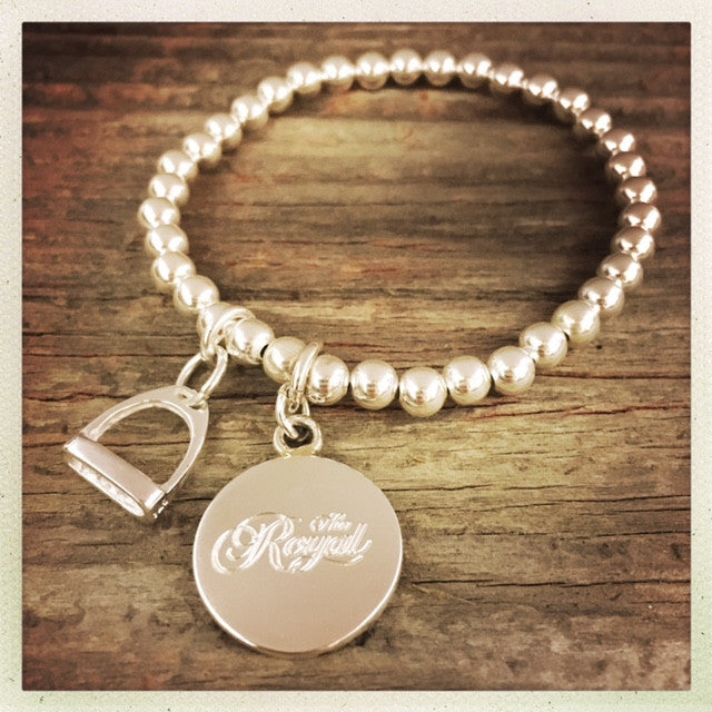 Royal Sterling Silver 925 - 8mm BALL Bracelet with Royal Engraving