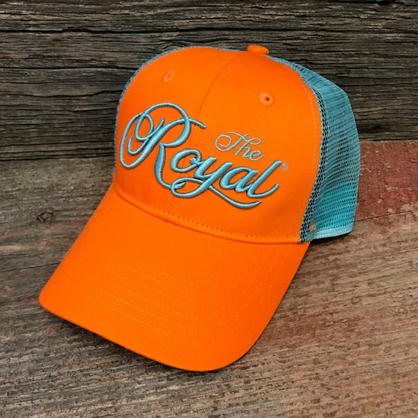 ROYAL TRUCKER HAT - Orange & Aqua - Dominion Regalia Ltd.