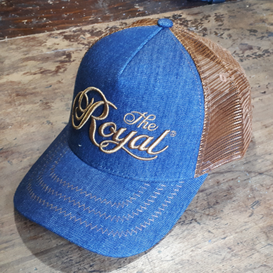 Royal Agricultural Virtual Experience® **SPECIAL** ROYAL TRUCKER HAT - Denim with 3D Embroidery in Antique Gold
