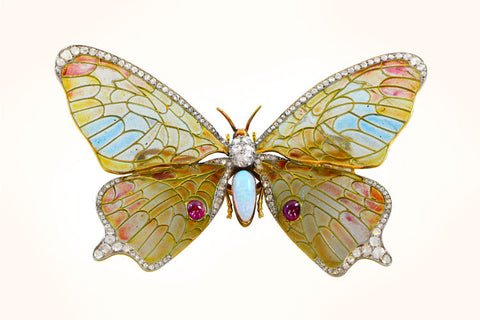 Plique-a-jour Butterfly Brooch