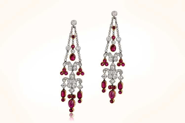 Rare Edwardian Burma Ruby Earrings