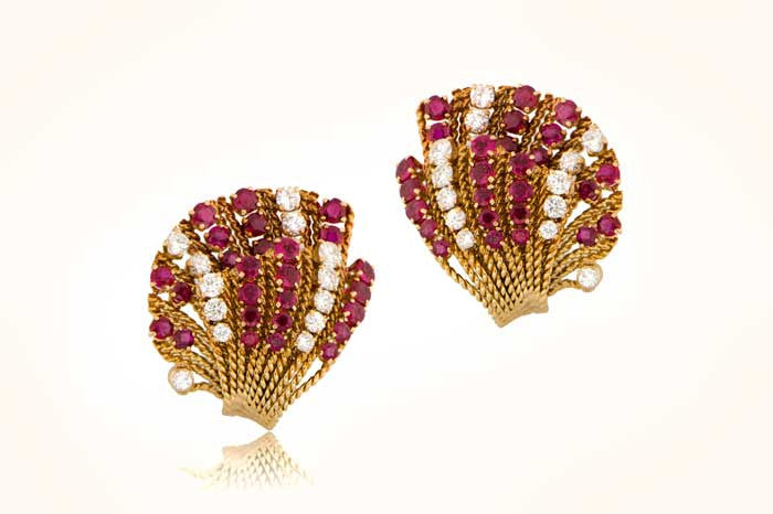 VCA Ruby and Diamond Earrings
