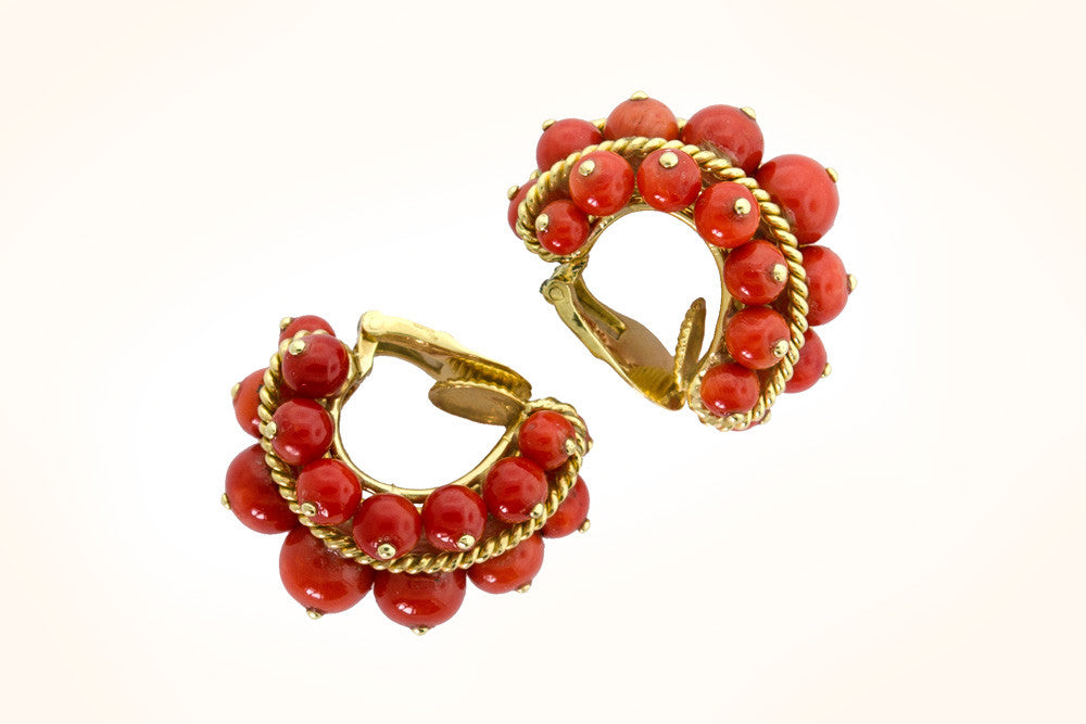 David Webb Coral Earrings