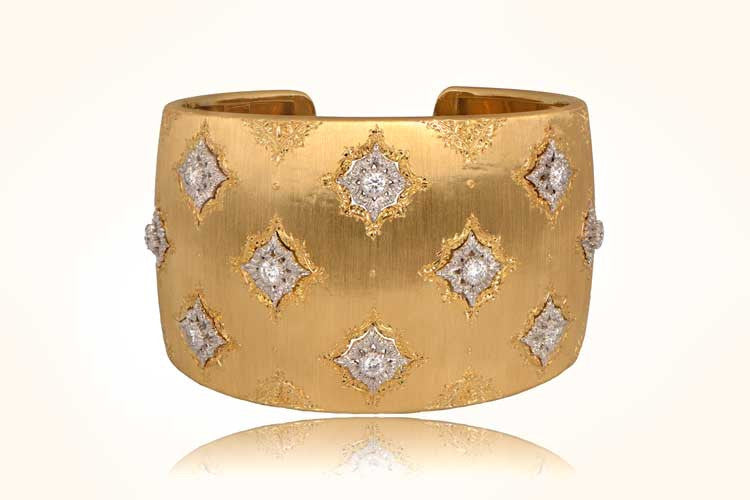 Vintage Wide Buccellati Gold and Diamond Bangle