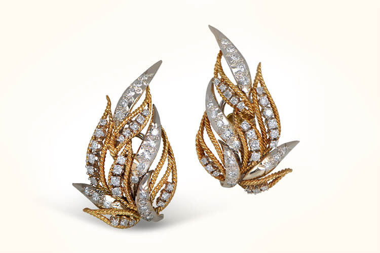 Vintage Diamond and Gold Earrings