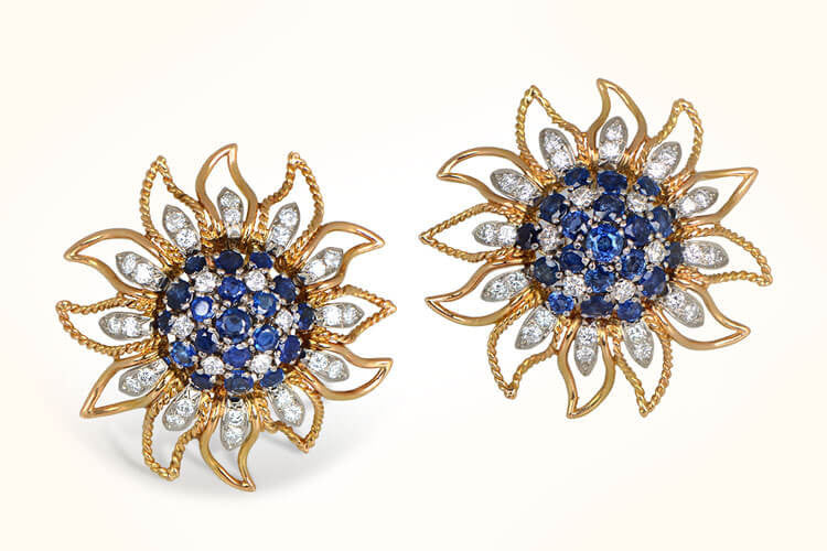Sapphire and Diamond Earrings. Circa 1960