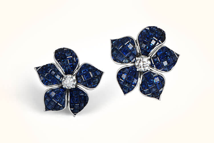 Mystery-Set Sapphire Earrings