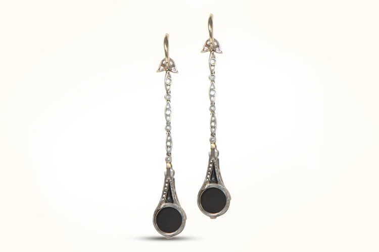 Onyx and Diamond Drop Earrings